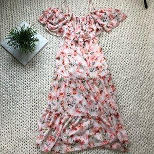 BB Dakota Dresses - BB Dakota Floral Print Off Shoulder Maxi Dress